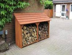 Style A Log store 2 bays stained